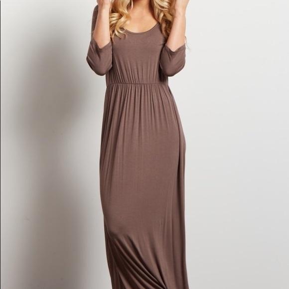 0e24f3ae7a Stretchy tan maxi dress
